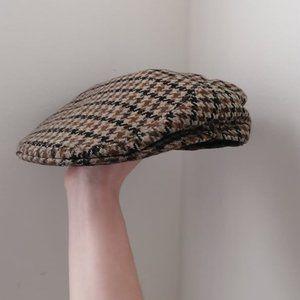 Vintage 100% Wool Brown Houndstooth Grandpa Cap